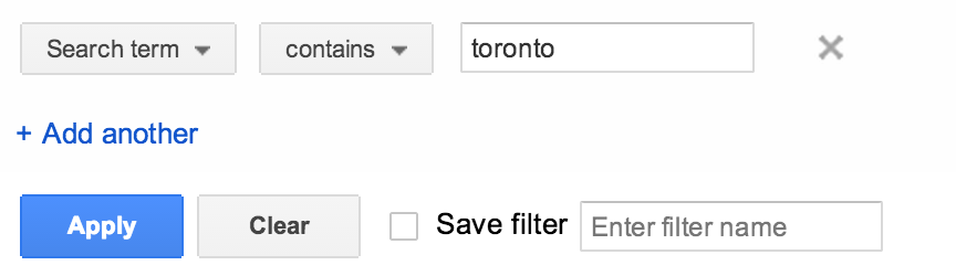adwords search query filter