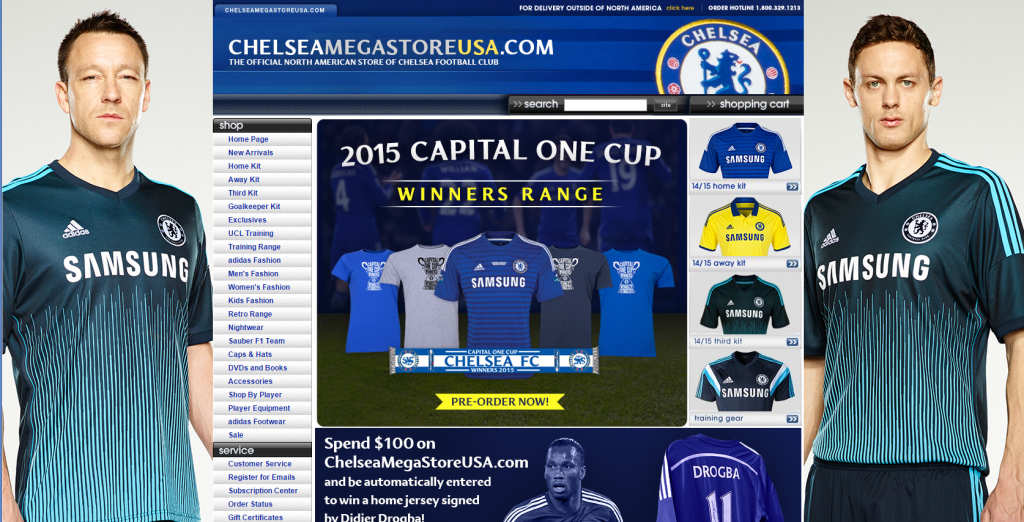 chelsea fc store landing page