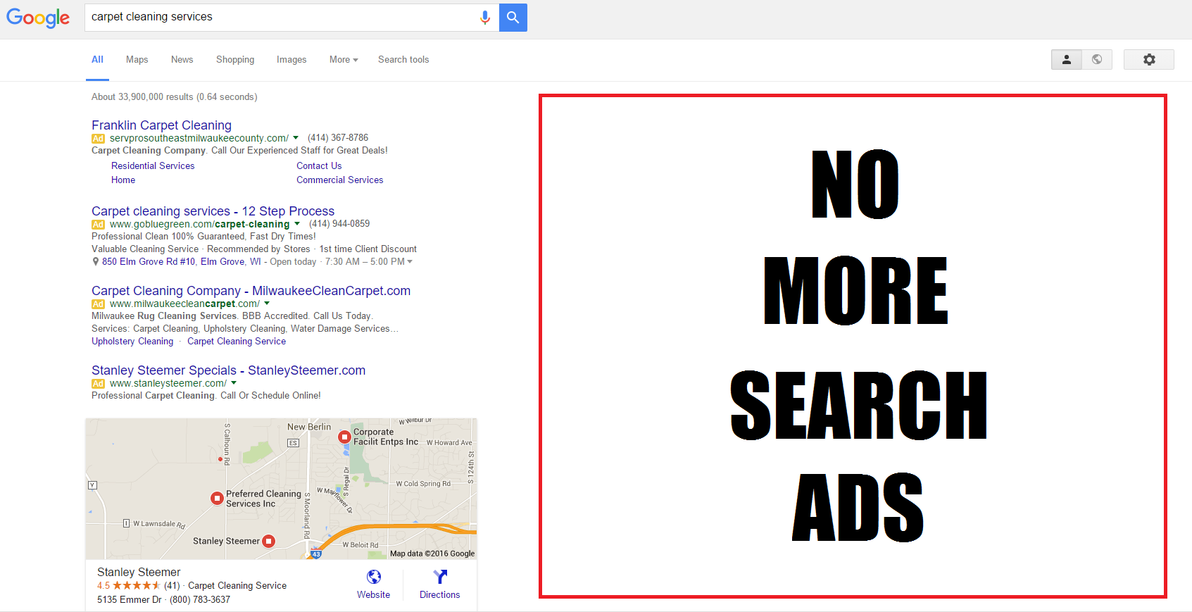 search advertising services joe martinez milwaukee ppc no righthand side ads