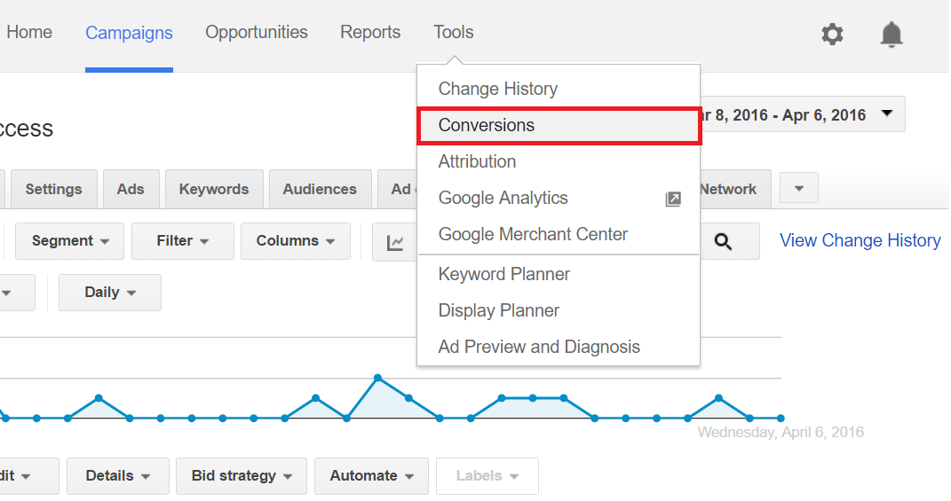 conversions in adwords