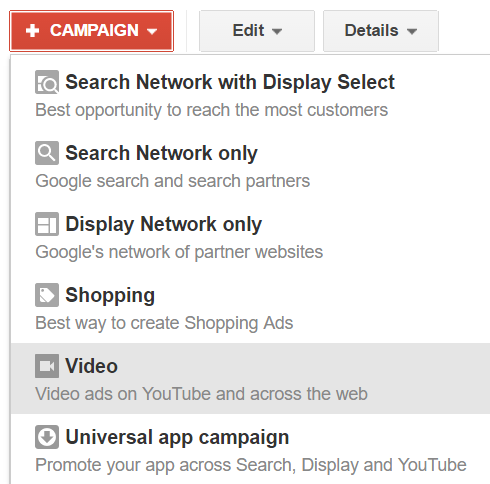 select youtube campaign in adwords