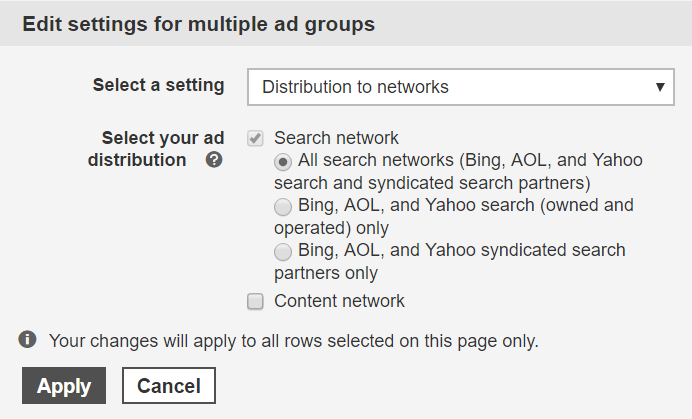 bing ads search partners in interface