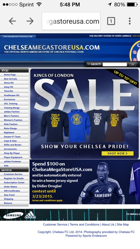 chelsea mobile landing page