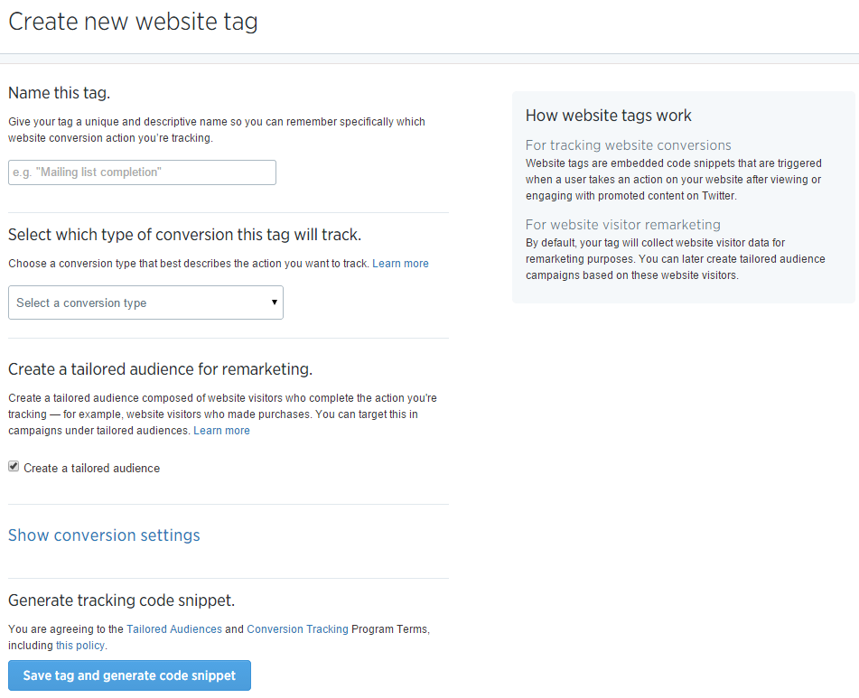 twitter website tag setup