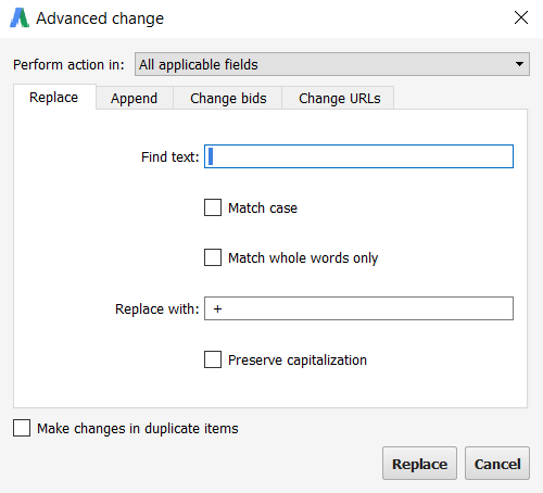 replace spaces in adwords editor