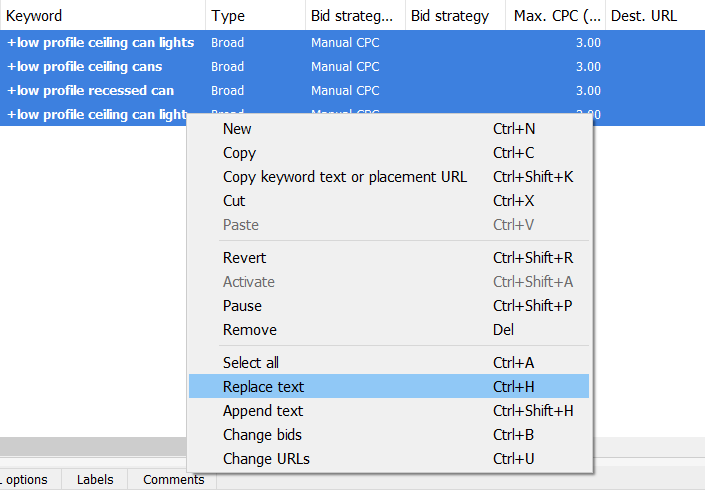 replace text in adwords editor
