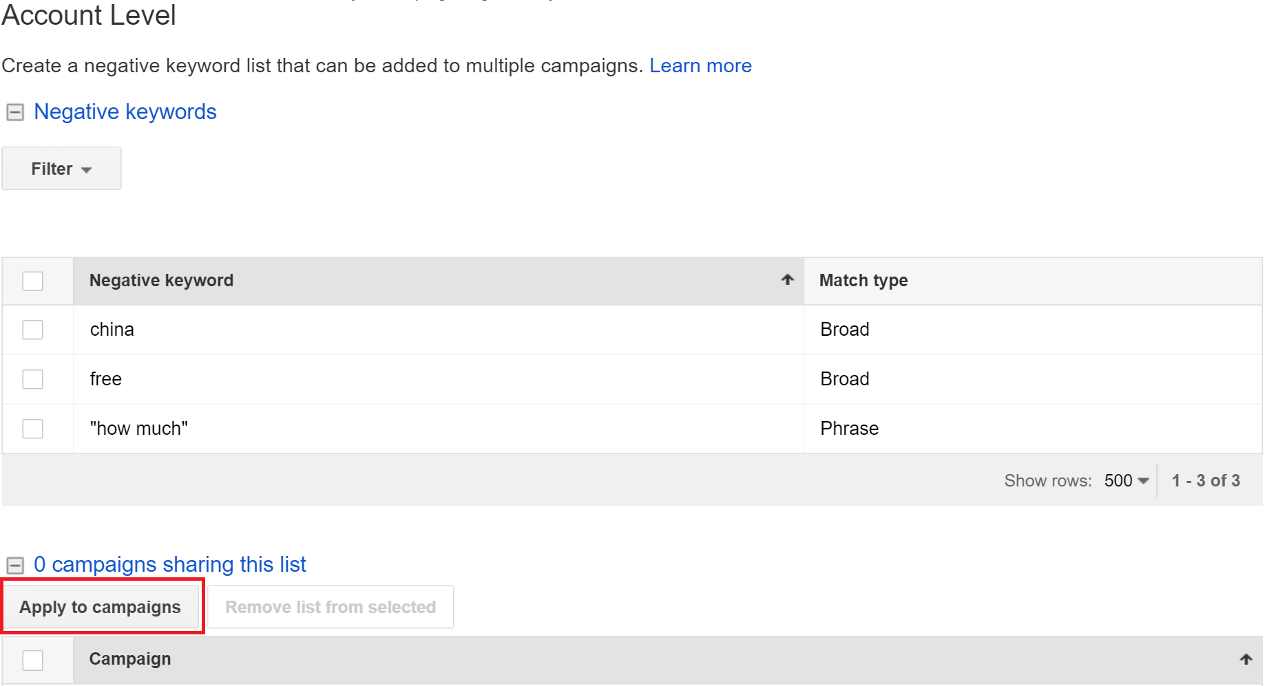 add campaigns to account level negative keyword list