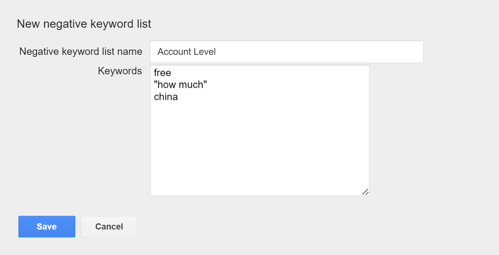 adwords account level negative keywords