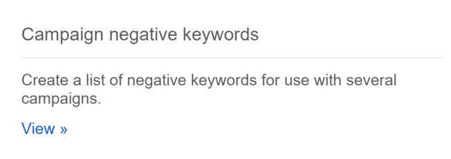 campaign negative keywords shared library
