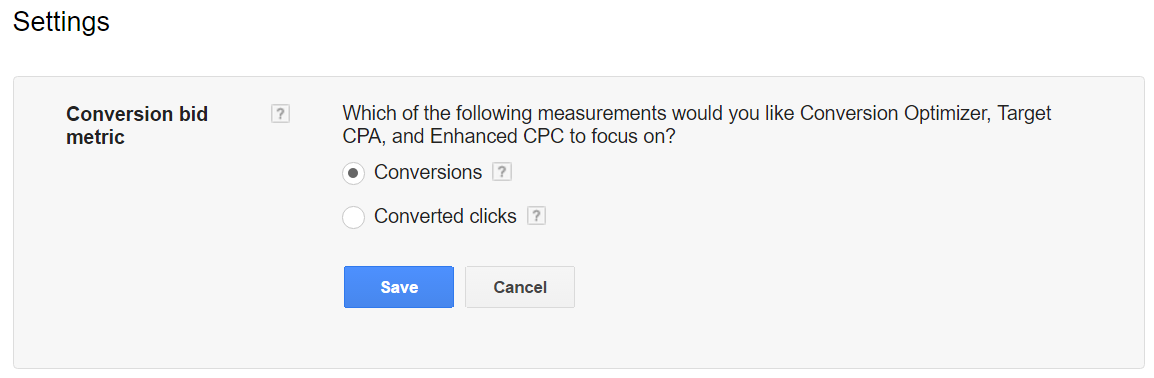 conversion bid metric adwords
