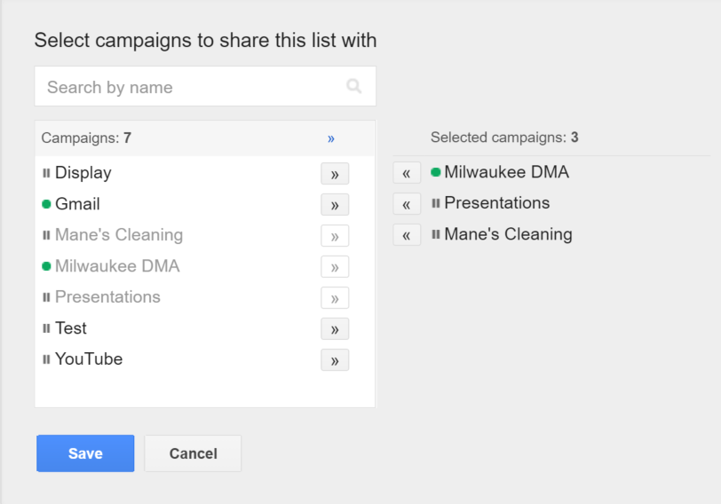 selected campaigns negative keywords