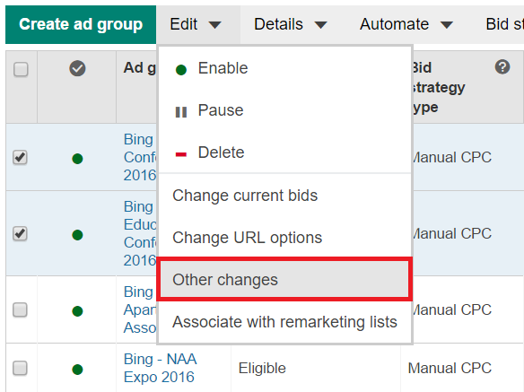bing ads ad group changes